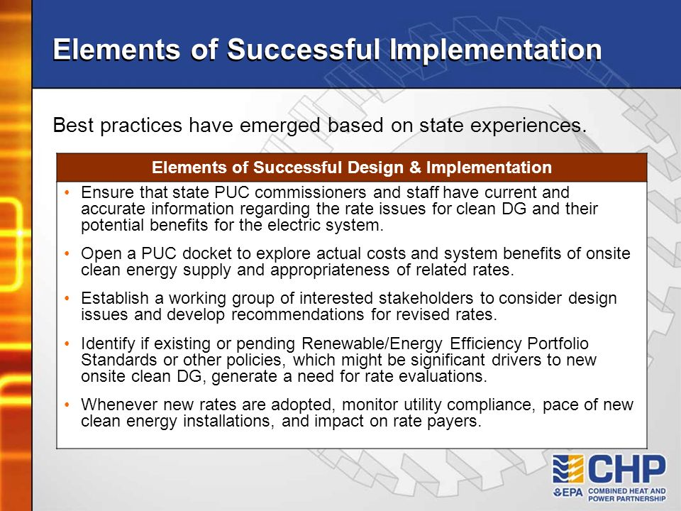 Elements of Successful Implementation