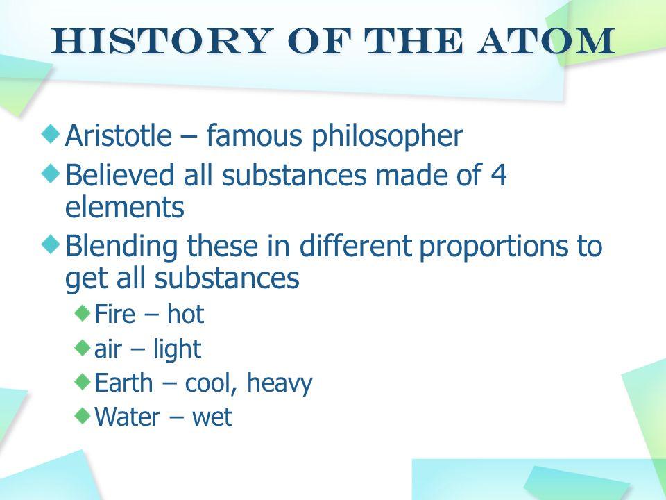 History of the Atom Aristotle – famous philosopher