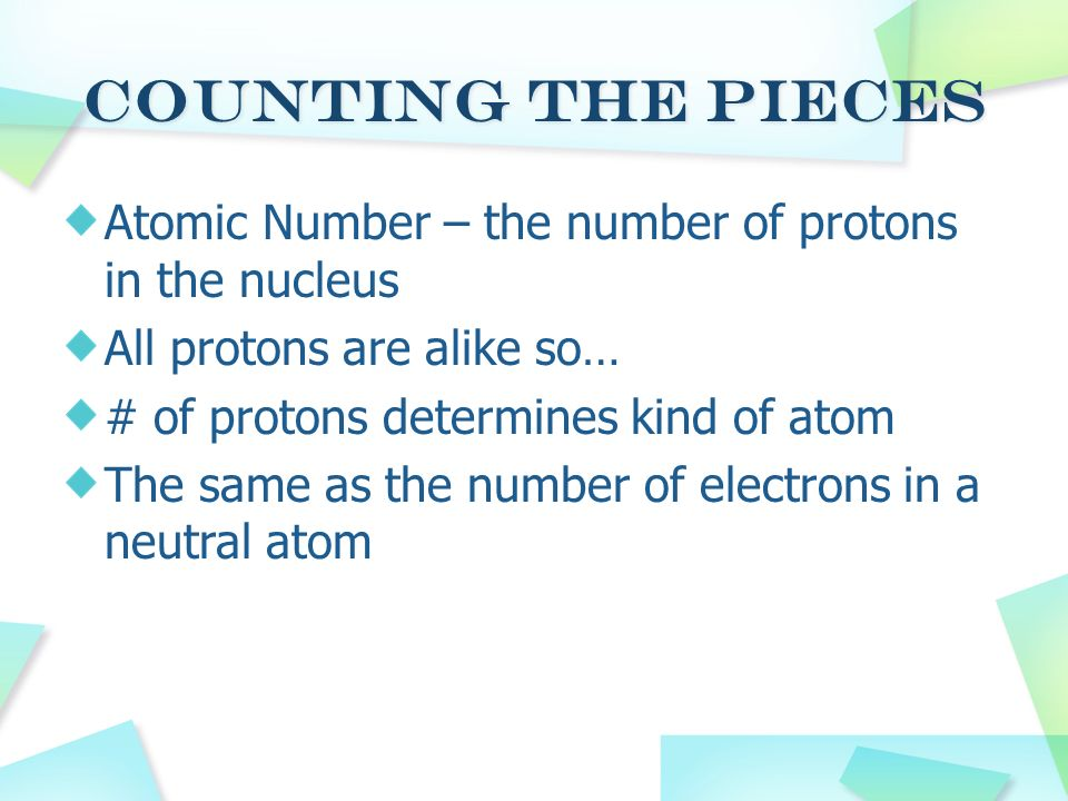 Counting the Pieces Atomic Number – the number of protons in the nucleus. All protons are alike so…