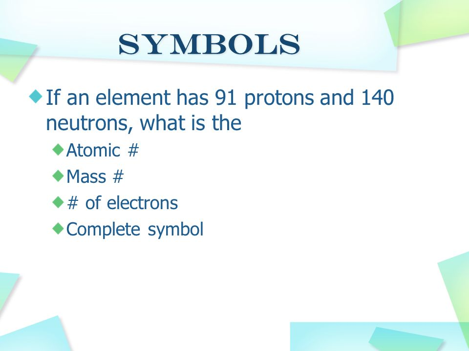 Symbols If an element has 91 protons and 140 neutrons, what is the