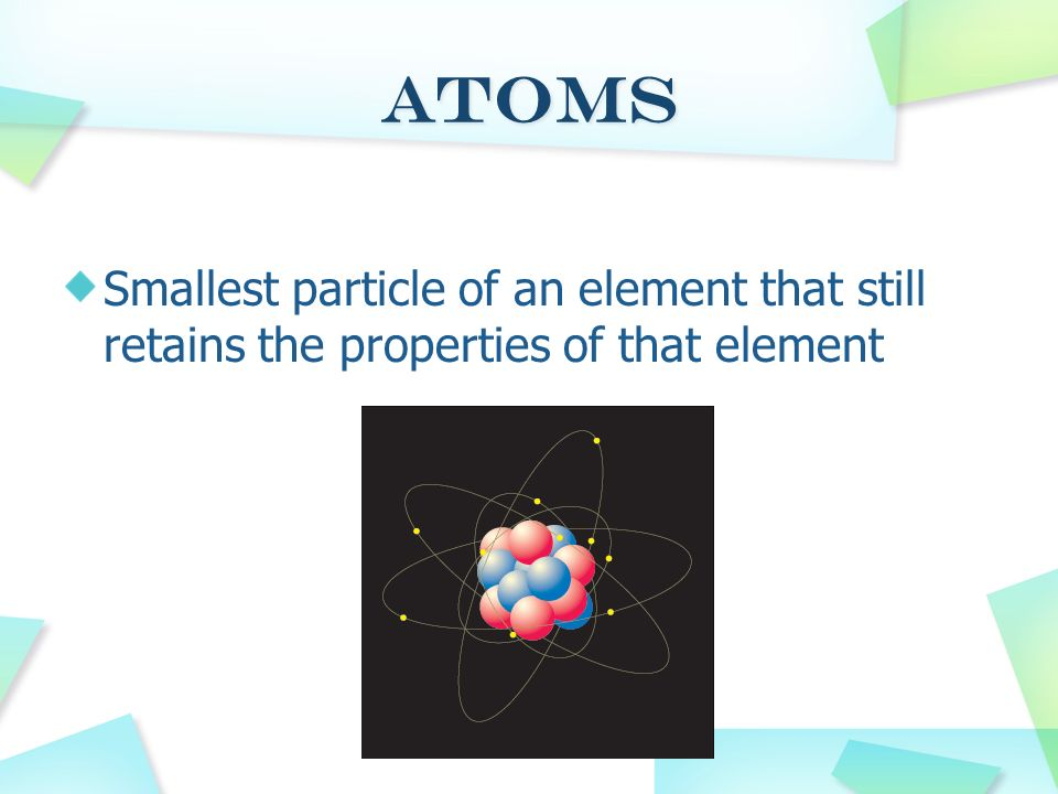 Atoms Smallest particle of an element that still retains the properties of that element