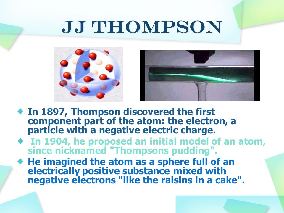 JJ Thompson In 1897, Thompson discovered the first component part of the atom: the electron, a particle with a negative electric charge.