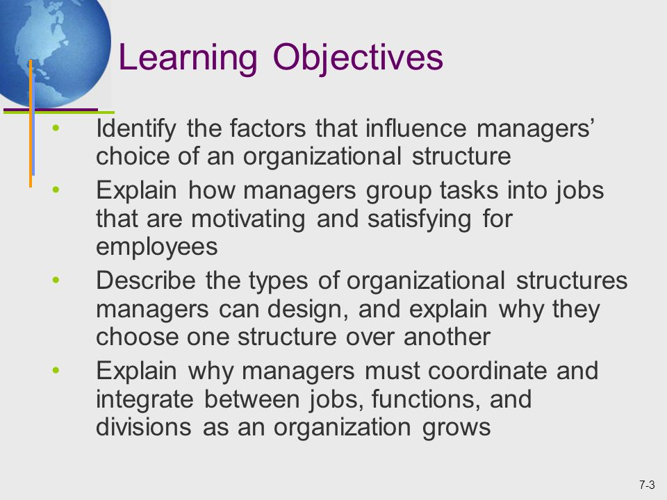 the factors that influence organizational structure An organization's structure amounts to its strategy for deploying talent throughout the company whether that deployment accomplishes a business' aim depends in part on the strength of the.