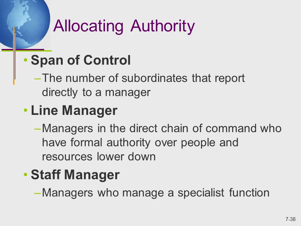 formal lines of authority Clearly defined line and staff positions with formal relationships between the two   because the atmosphere is informal and the lines of authority may shift.