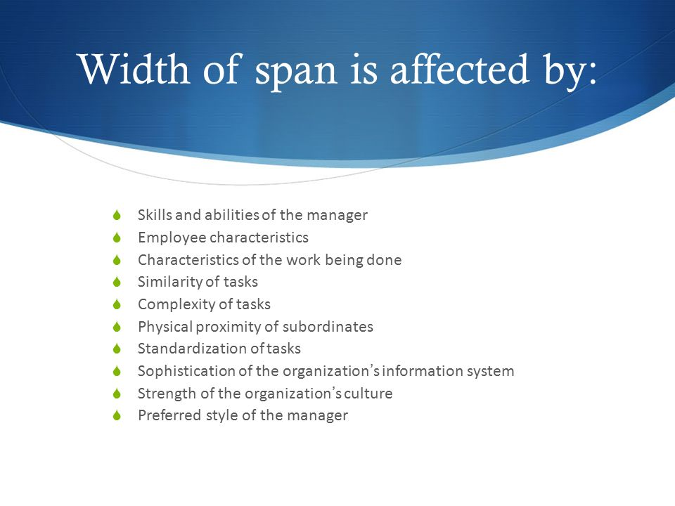 Width of span is affected by: