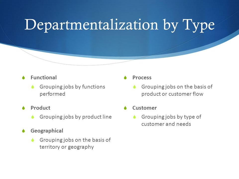 Departmentalization by Type