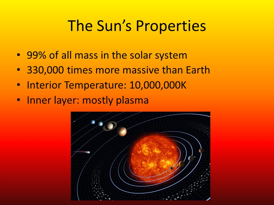 The Sun's Properties 99% of all mass in the solar system