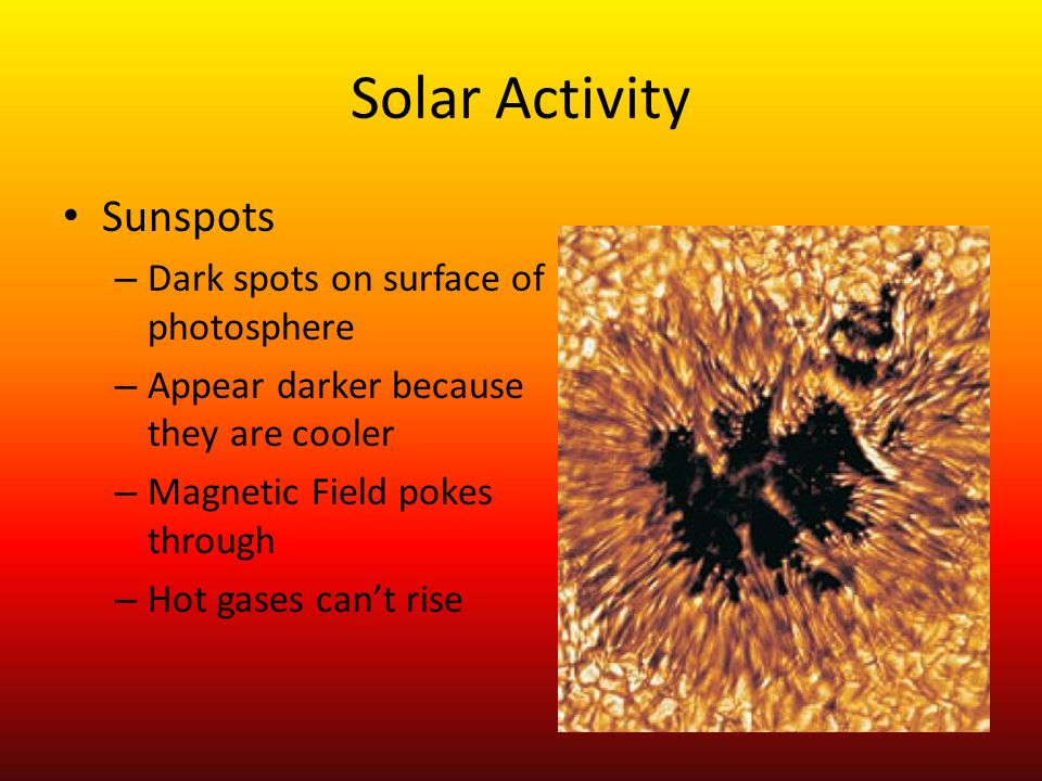 Solar Activity Sunspots Dark spots on surface of photosphere