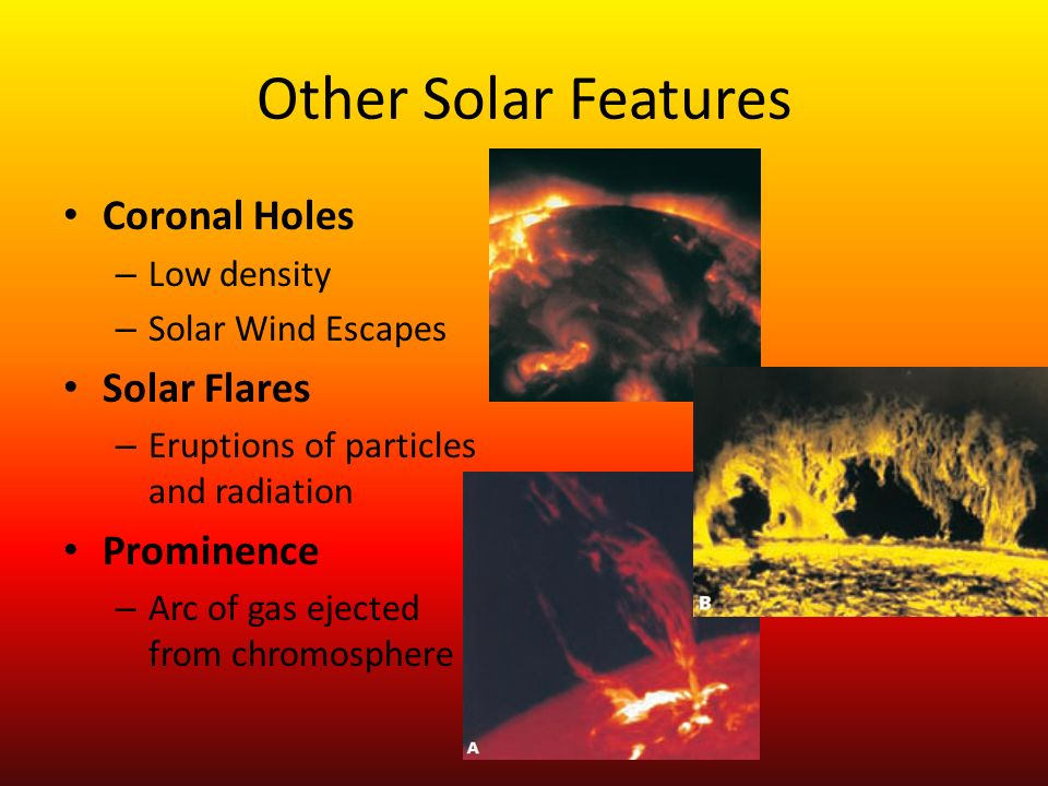 Other Solar Features Coronal Holes Solar Flares Prominence Low density