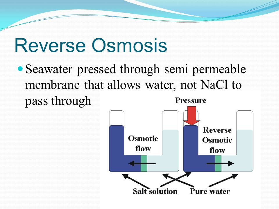 Reverse Osmosis Seawater pressed through semi permeable membrane that allows water, not NaCl to pass through.