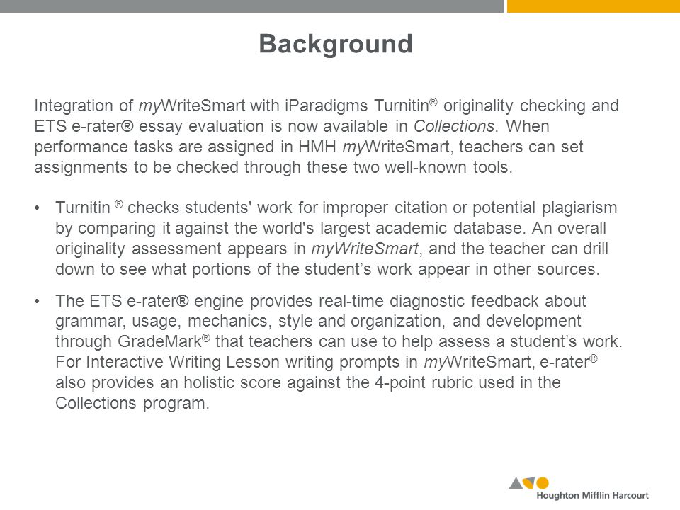 using turnitin® and ets e rater® mywritesmart ppt video  2 background integration