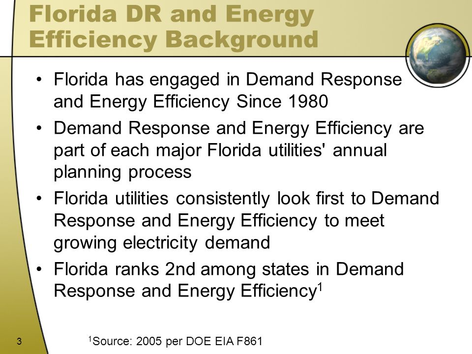 Florida DR and Energy Efficiency Background