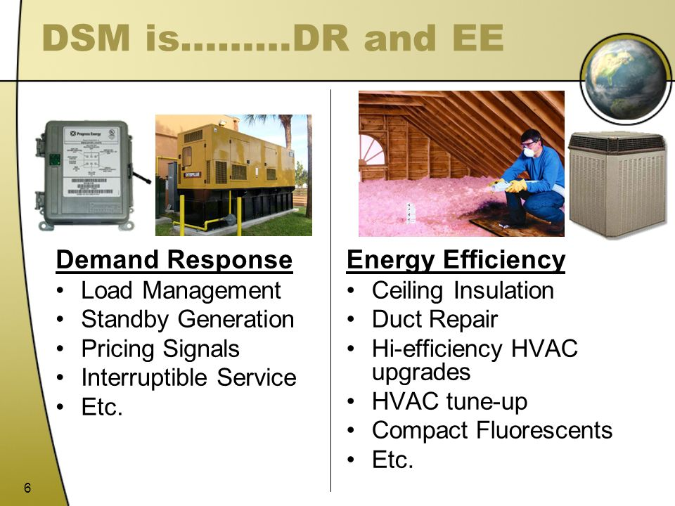 DSM is………DR and EE Demand Response Energy Efficiency Load Management