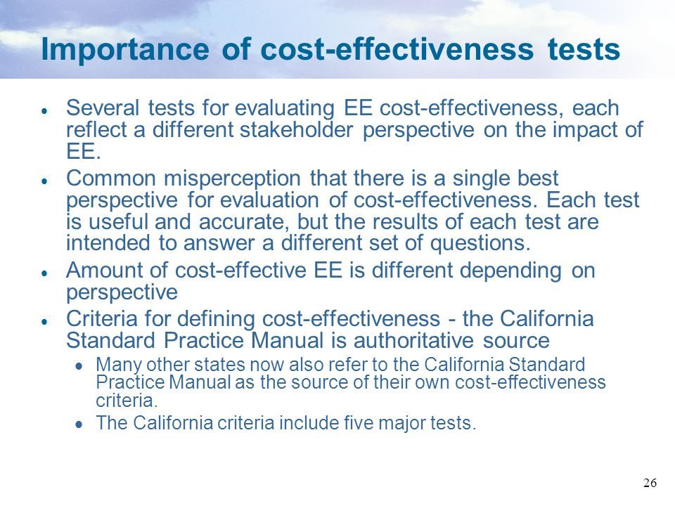 Importance of cost-effectiveness tests