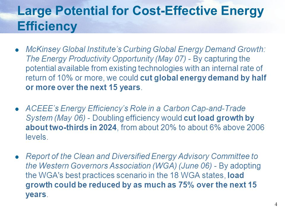 Large Potential for Cost-Effective Energy Efficiency