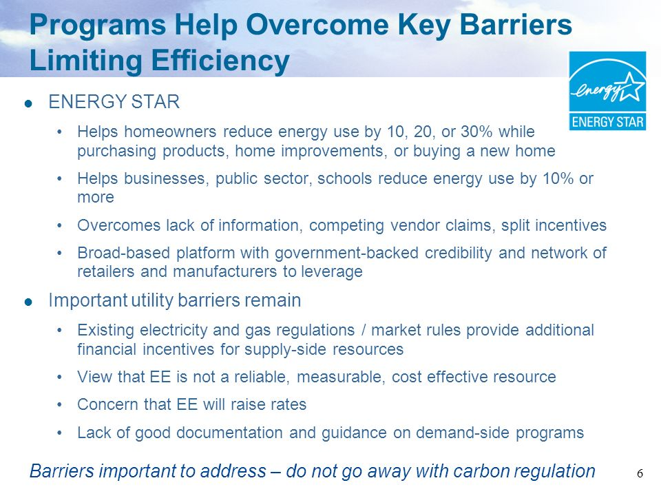 Programs Help Overcome Key Barriers Limiting Efficiency