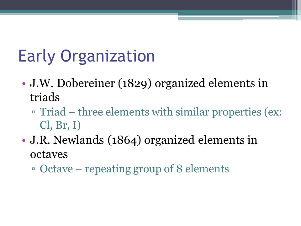 Early Organization J.W. Dobereiner (1829) organized elements in triads