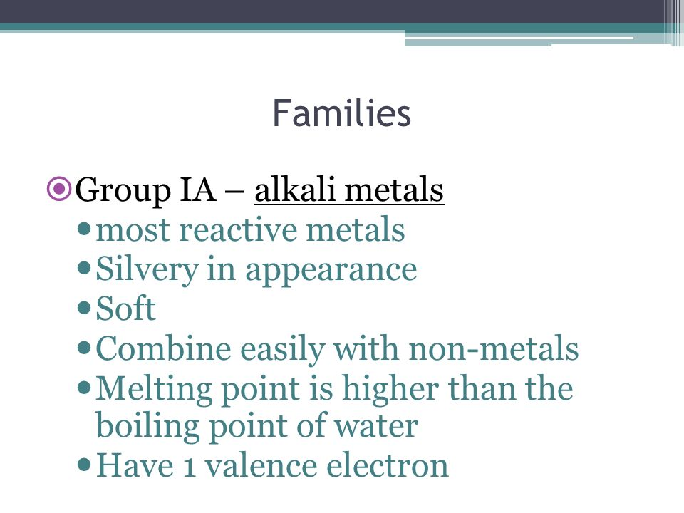 Families Group IA – alkali metals most reactive metals