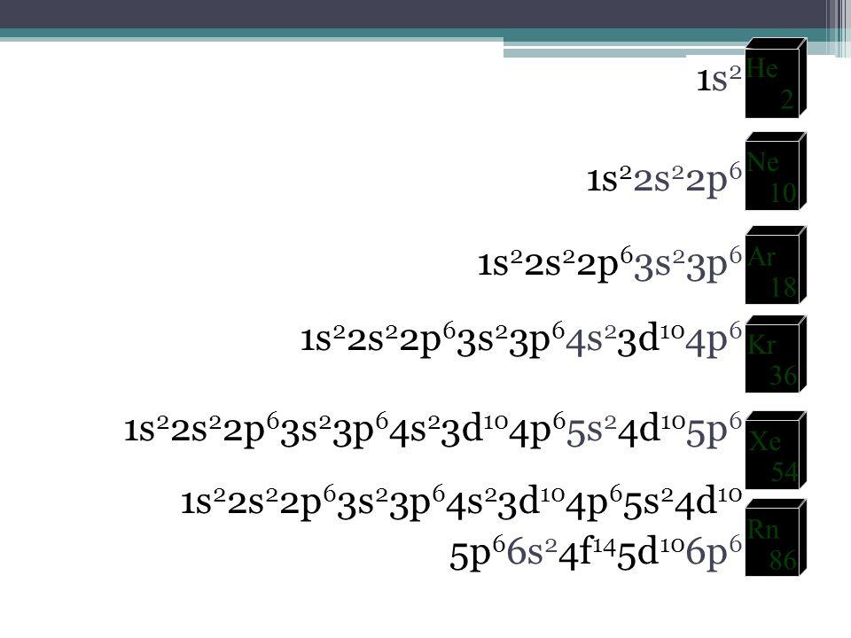 1s2 1s22s22p6 1s22s22p63s23p6 1s22s22p63s23p64s23d104p6 1s22s22p63s23p64s23d104p65s24d105p6 1s22s22p63s23p64s23d104p65s24d10 5p66s24f145d106p6
