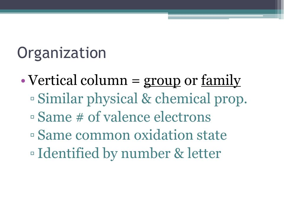 Organization Vertical column = group or family