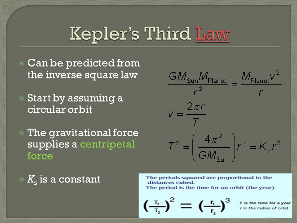 Kepler's Third Law Can be predicted from the inverse square law