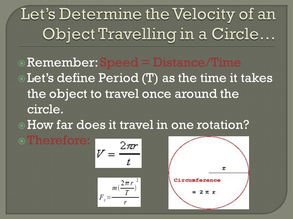 Let's Determine the Velocity of an Object Travelling in a Circle…