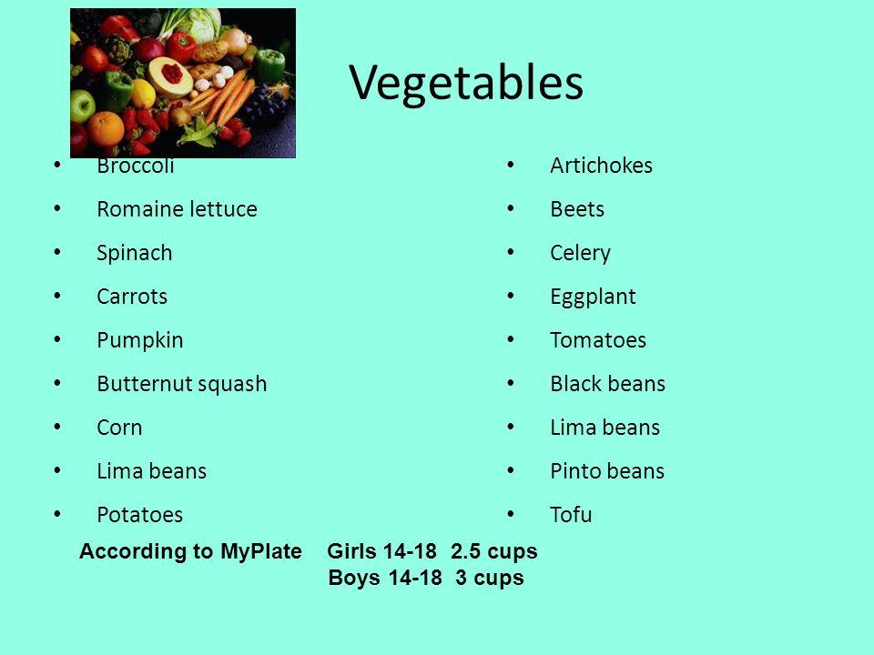 Vegetables Broccoli Romaine lettuce Spinach Carrots Pumpkin
