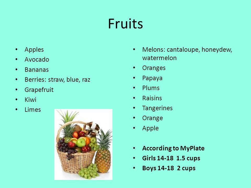 Fruits Apples Avocado Bananas Berries: straw, blue, raz Grapefruit