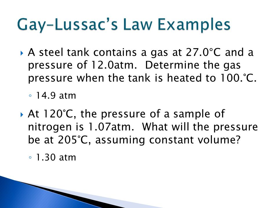 Gay–Lussac's Law Examples