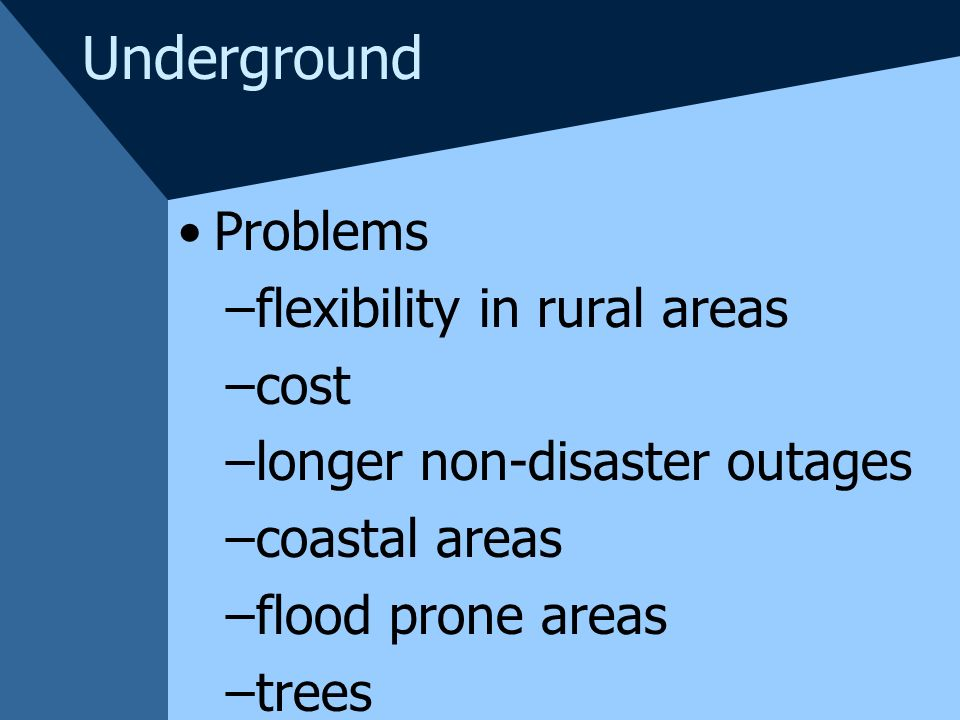 Underground Problems flexibility in rural areas cost