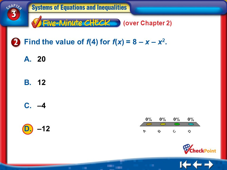 Find the value of f(4) for f(x) = 8 – x – x2.