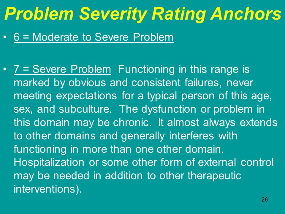 Problem Severity Rating Anchors