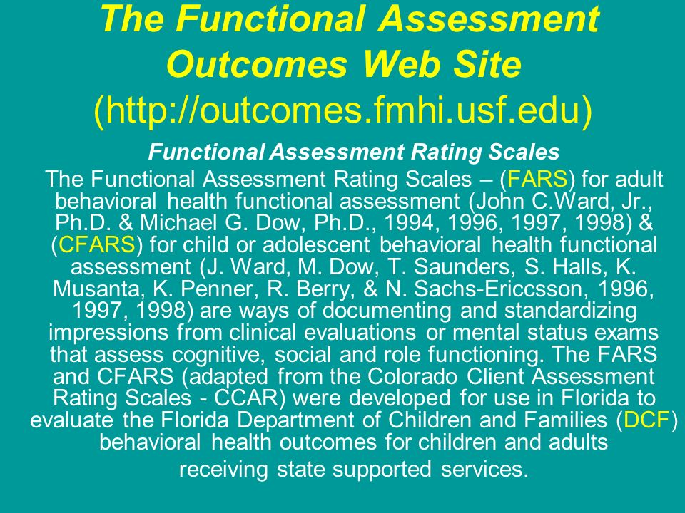 Functional Assessment Rating Scales