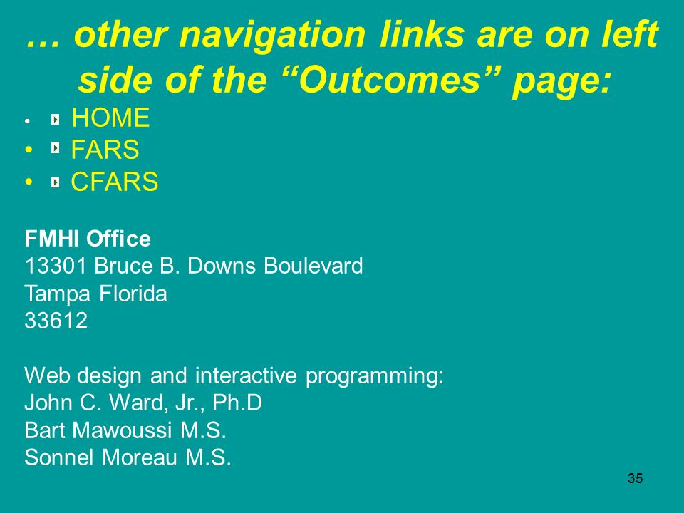 … other navigation links are on left side of the Outcomes page: