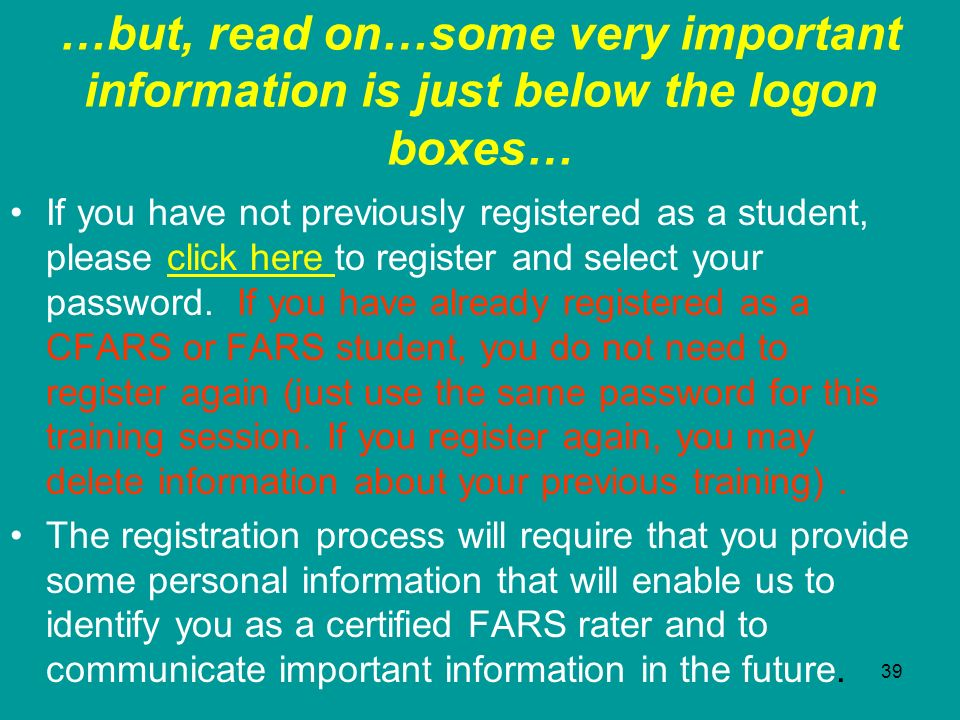 …but, read on…some very important information is just below the logon boxes…