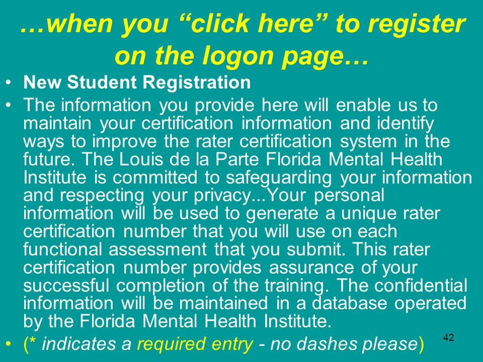 …when you click here to register on the logon page…