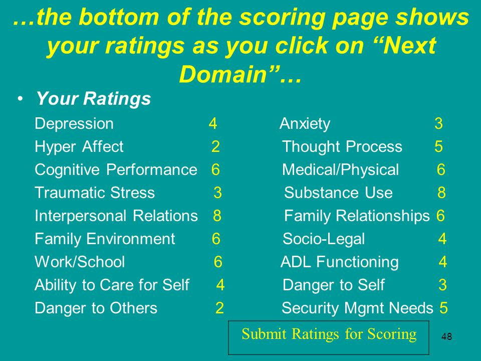 …the bottom of the scoring page shows your ratings as you click on Next Domain …
