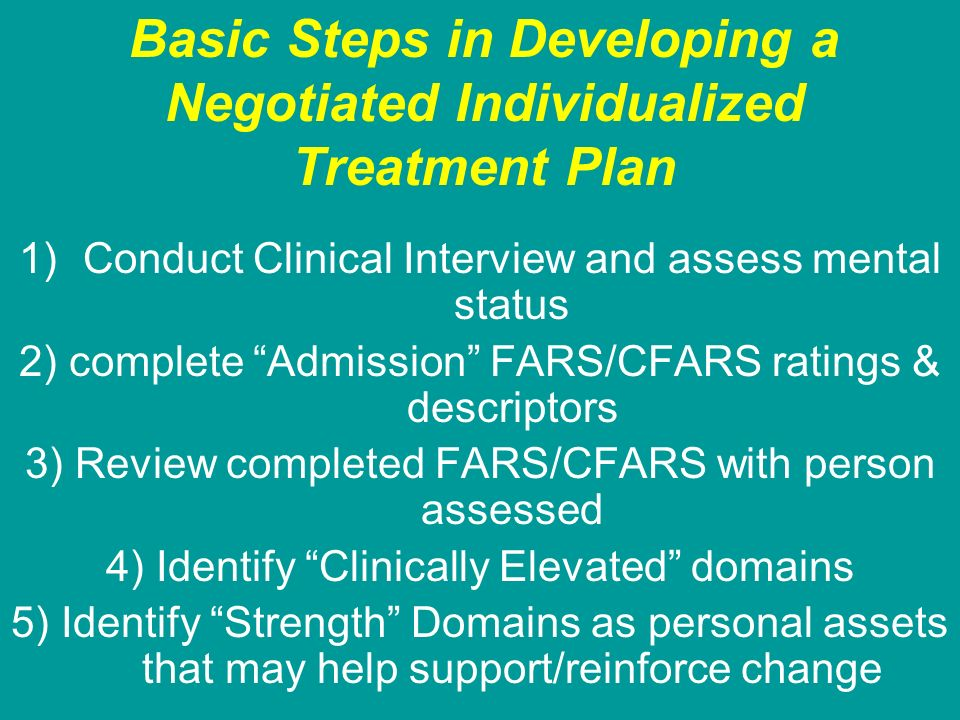 Basic Steps in Developing a Negotiated Individualized Treatment Plan