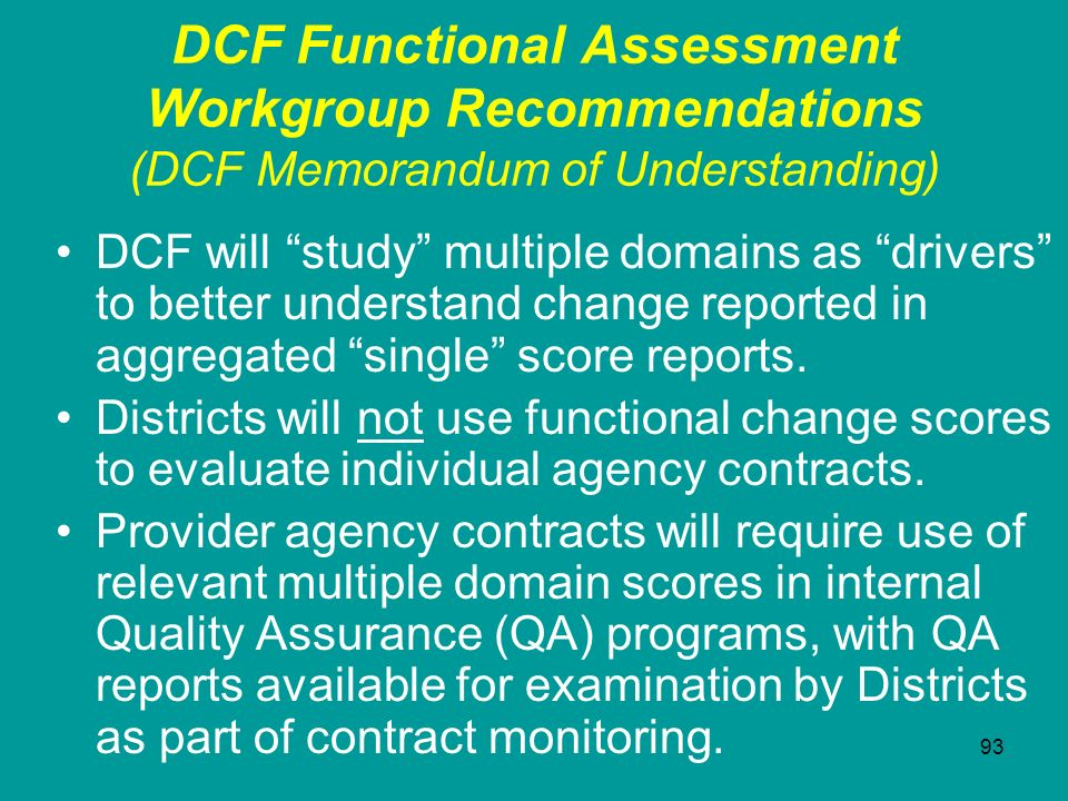 DCF Functional Assessment Workgroup Recommendations (DCF Memorandum of Understanding)