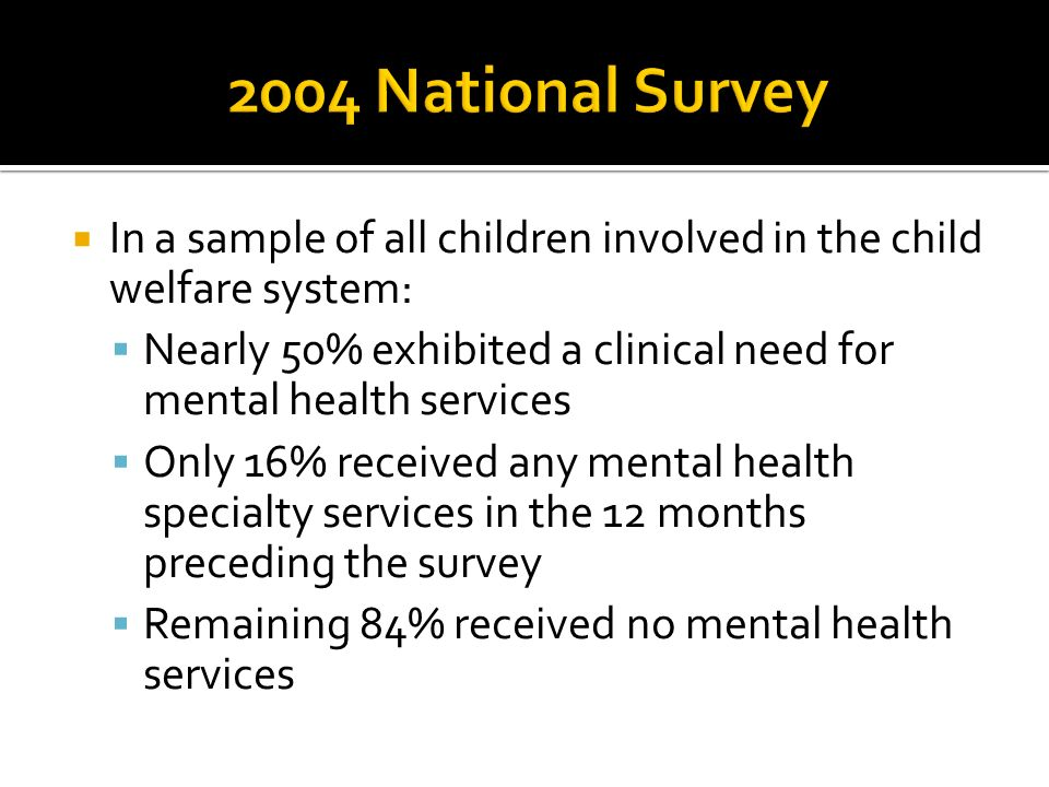 2004 National Survey In a sample of all children involved in the child welfare system: