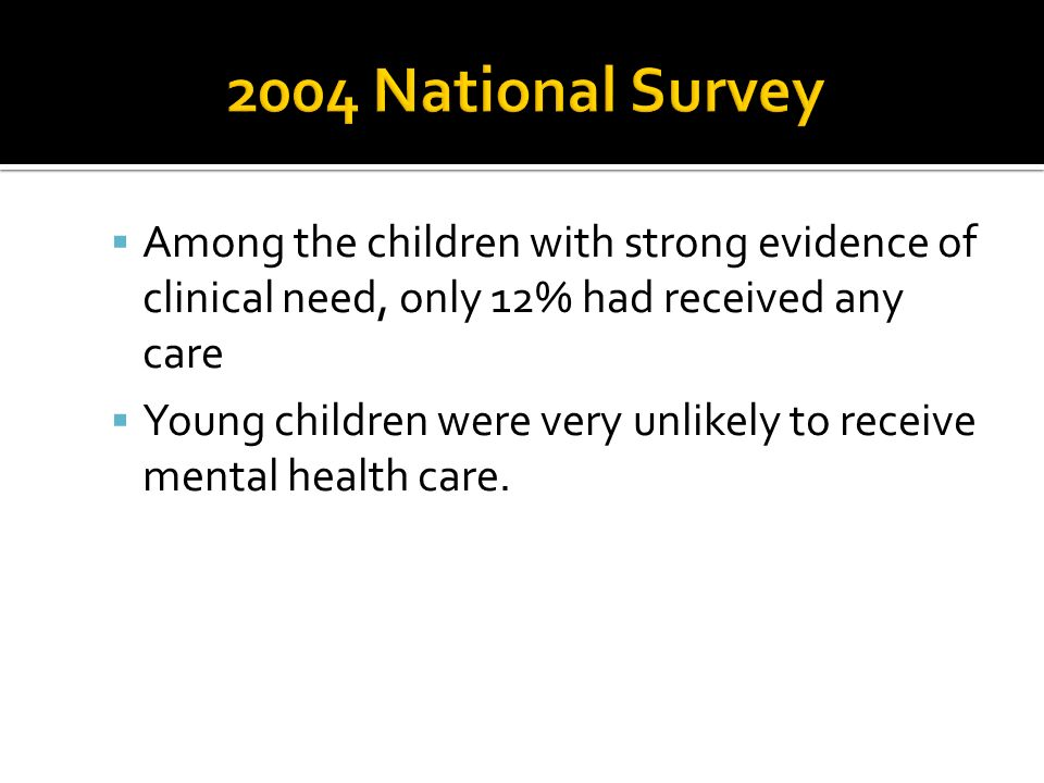 2004 National Survey Among the children with strong evidence of clinical need, only 12% had received any care.