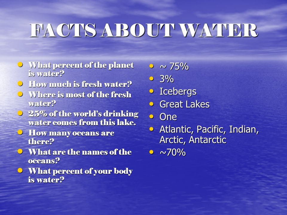 FACTS ABOUT WATER ~ 75% 3% Icebergs Great Lakes One