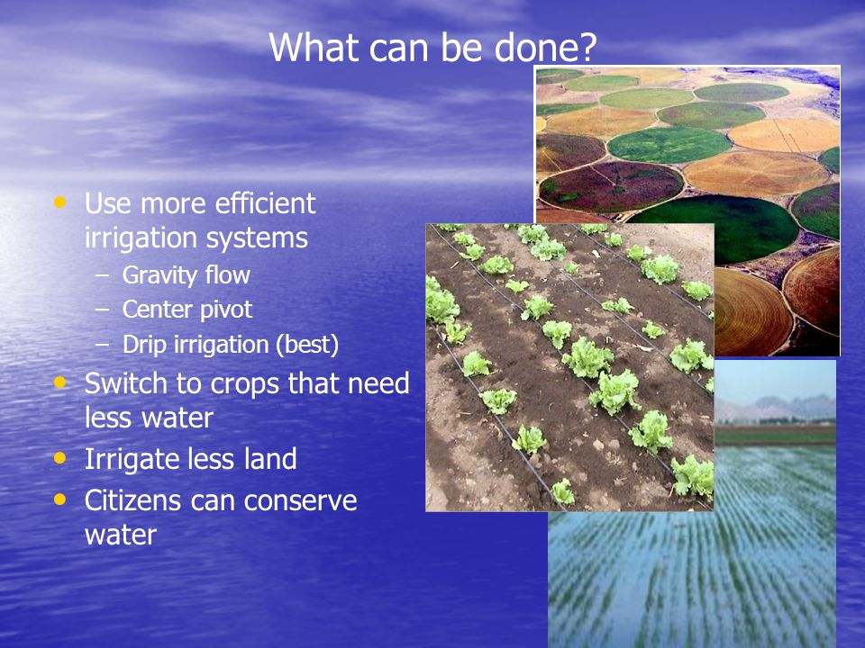 What can be done Use more efficient irrigation systems