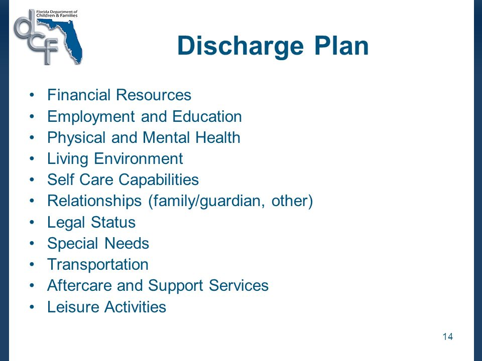 Discharge Plan Financial Resources Employment and Education