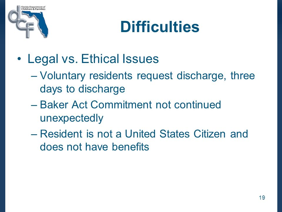 Difficulties Legal vs. Ethical Issues