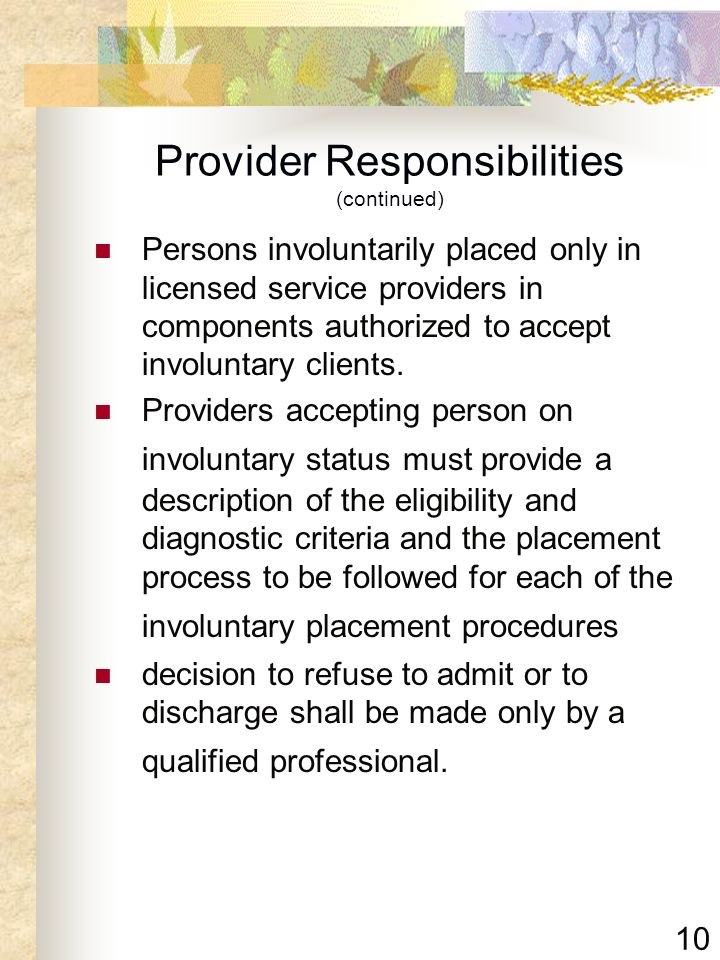 Provider Responsibilities (continued)