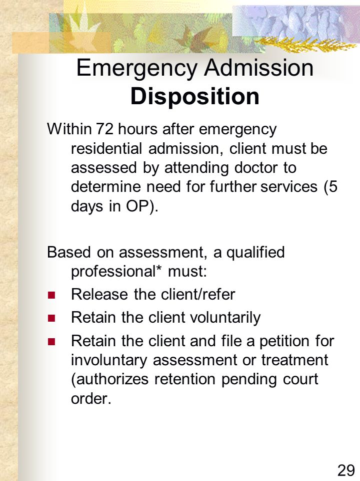 Emergency Admission Disposition