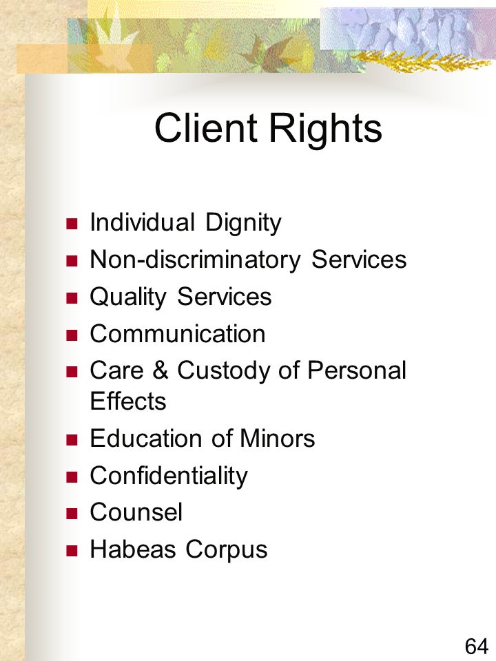 Client Rights Individual Dignity Non-discriminatory Services