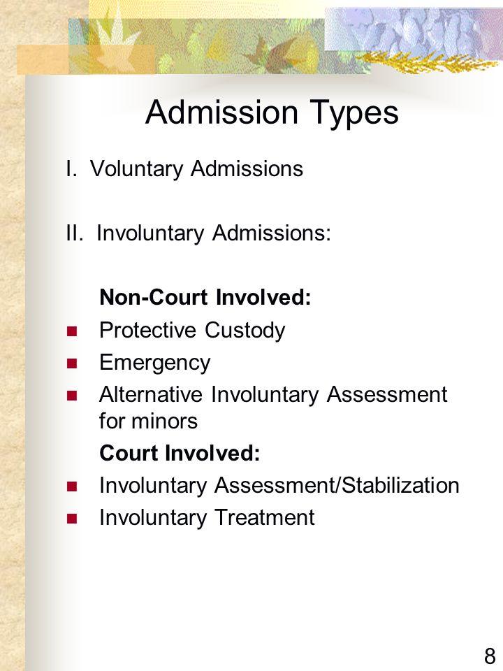 Admission Types I. Voluntary Admissions II. Involuntary Admissions: