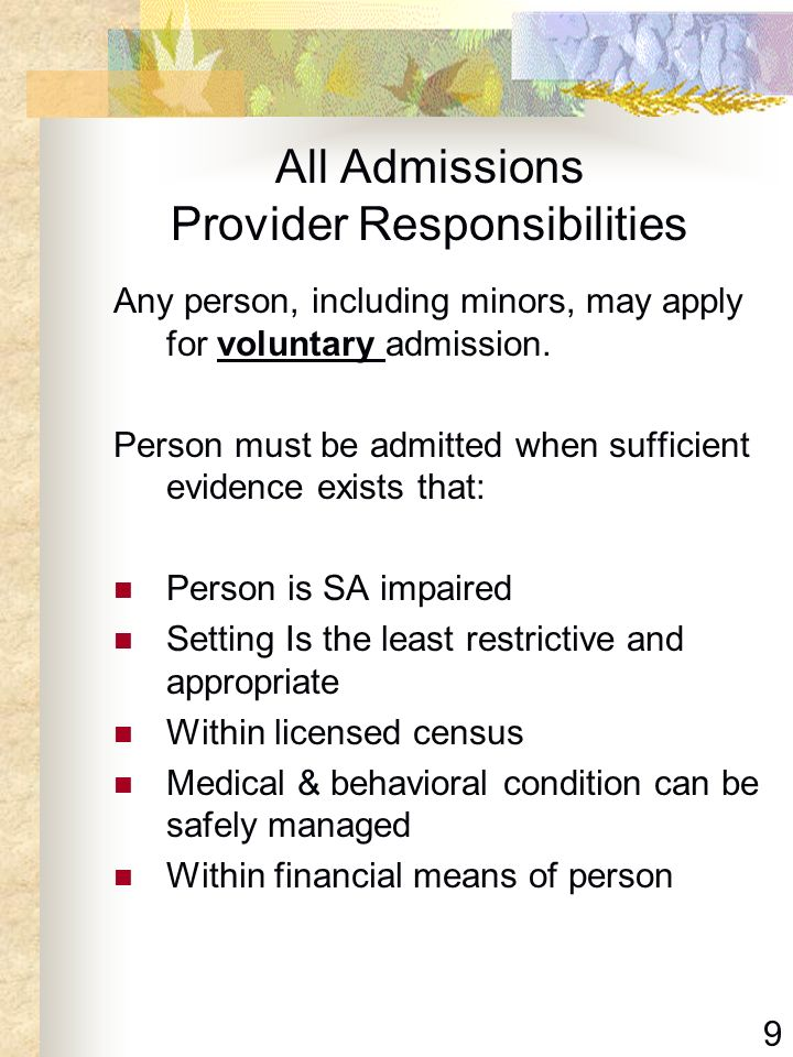 All Admissions Provider Responsibilities